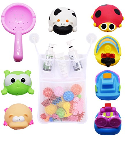 Bath Toy Squirt, Bathtime Fun Baby Bathtub Toys Set for Toddlers 4 Animals + 3 Boats + 1 Scoop with Mesh Net Organizer Storage Two Suction Hook Set (9-Pack) by Fayoo