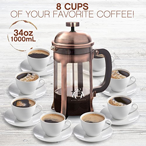 Copper French Press Coffee Maker Stainless Steel Cafetiere by King Koffee   34oz 1000 mL 8 Cups   Unique Extra Large Plunger   Antique Classic Edition   Milk Frother, Tea Infuser   Rust Free by VIKING (Image #3)