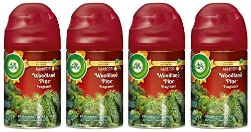 (Air Wick Freshmatic Ultra Automatic Spray Refill - Winter Collection 2018 - Woodland Pine - Net Wt. 6.17 OZ (175 g) Per Refill Can - Pack of 4 Refill Cans)