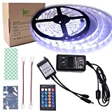 BIHRTC Waterproof IP65 Daylight White LED Light Strip Kit 5630 16.4 Ft 5M 300 LEDs 60 LEDs/m Flexible Tape Lighting Tape with 24 Keys IR Remote Controller and 12V 3A UL Listed Power Supply Adapter
