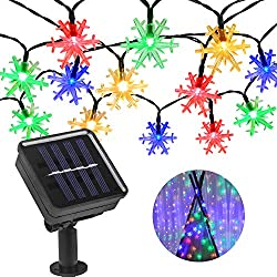 Beinhome Solar String Light 21 3ft30 Leds Waterproof Snowflake Solar Fairy Lights 8 Modes Multi Color Shining Led Solar Lights For Outdoor Garden Patio Fence Roof Tree Christmas Decoration