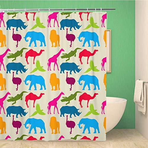 Awowee Bathroom Shower Curtain Elephant Animal Pattern Rhino Camel Ostrich Ara Crocodile Giraffe Polyester Fabric 60x72 inches Waterproof Bath Curtain Set with Hooks