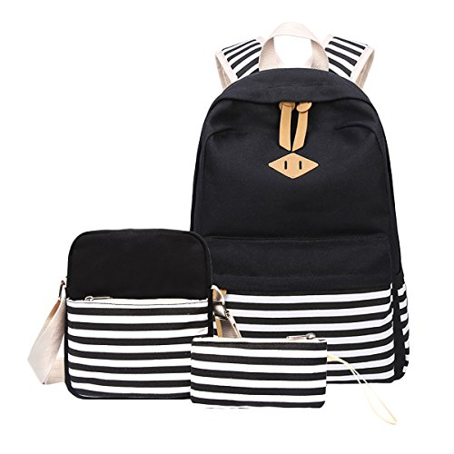 Aiduy Student Canvas School Bookbag Casual Rucksack Laptop Backpack with Shoulder Bag Pencil Case for School Girls and Boys (Black)