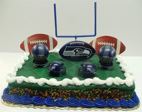 NFL Football Seattle Seahawks Birthday Cake Topper Set Featuring Helmets And Decorative Pieces