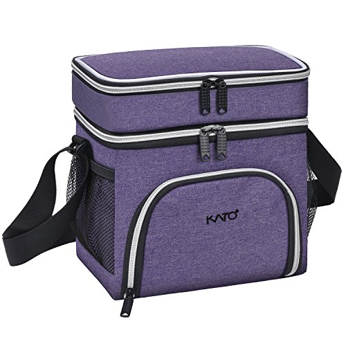 Kato Insulated Lunch Bag for Women & Girls, Leakproof Thermal Bento Cooler Lunch Box Tote, Dual Compartment Lunch Bag with Shoulder Strap, Oxford Cloth, Purple Rectangle Lunch Box