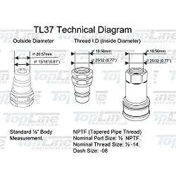 "TL37 1/2"" NPT Thread Ag Quick Connect Hydraul"