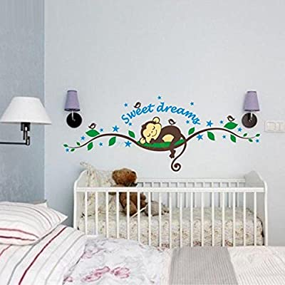 BIBITIME Sweet Dream Monkey Removable Vinyl Decal Kid Room Home Decor Wall Stickers