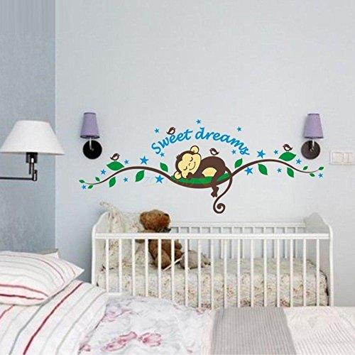 Baby Room Wallpaper Borders (BIBITIME Sweet Dream Monkey Removable Vinyl Decal Kid Room Home Decor Wall Stickers)