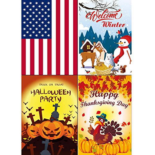 VIWIEU Halloween Garden Flag Home Welcome Yard Flag Holiday Outdoor Decor 12 x 18 Inch 4 Set, Double Sided Polyester Seasonal House Yawn Flags for July 4th Independence Day, Thanksgiving, Christmas]()