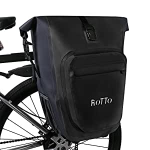 ROTTO Alforjas Bicicleta Bolso Bici Trasero Fácil Lanzamiento Impermeable 27 litros (A-Negro-