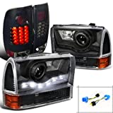 Ford F250 SMD Projector Headlights+Corner Lamps+Glossy Black LED Tail Lights