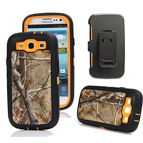 Galaxy S3 Case, Harsel Defender Series Heavy Duty Camo Tough Rugged Armor Hybrid Protective Military with Belt Clip Built-in Screen Protector Case Cover for Galaxy S3 (Tree / Orange)