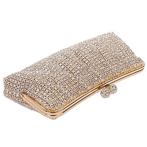 Damen Clutch Abendtasche Handtasche Geldbörse Luxus Funkelt Glitzer Falten Tasche mit wechselbare Trageketten von Santimon(3 Kolorit) Gold