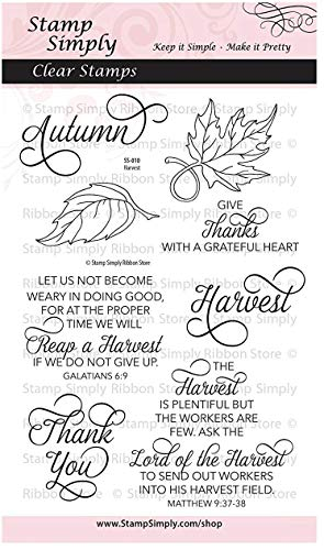 Stamp Simply Clear Stamps Harvest Thanksgiving and Fall Christian Religious 4x6 Inch Sheet - 8 Pieces