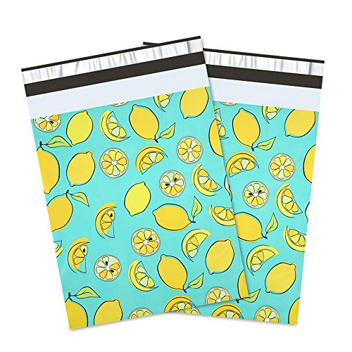 UCGOU #4 10x13 Lemon Designer Poly Mailers Shipping Envelopes Boutique Custom Bags 2.35MIL ()