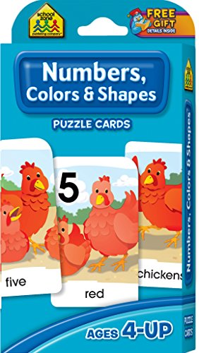 School Zone - Numbers, Colors & Shapes Puzzle Cards - Ages 4 and Up, Numbers, Words, Vocabulary, Counting, and More