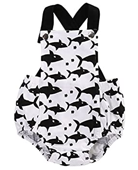 Moore Infant Baby Boy Girl Clothes Shark Romper Backless Bodysuit Outfits 0-18M (6-12 Months)