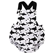 Moore Infant Baby Boy Girl Clothes Shark Romper Backless Bodysuit Outfits 0-18M (0-3 Months)