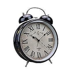 Tochange Retro Double Bell Alarm Clock Metal Silent Desk Clock Antique Bedside Alarm Clock Study Room Bedroom Office Students Adults Children(23.5830cm)