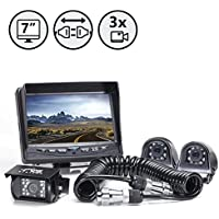 Backup Camera System with Side Cameras and Multi Camera Quick Connect Kit by Rear View Safety
