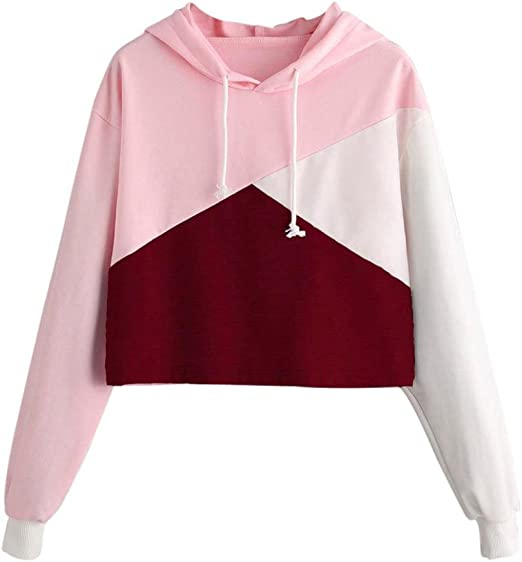 Howstar Women's Hoodies Sweatshirt, Patchwork Casual Hooded Pullover Womens Tops Fashion Cute Shirt