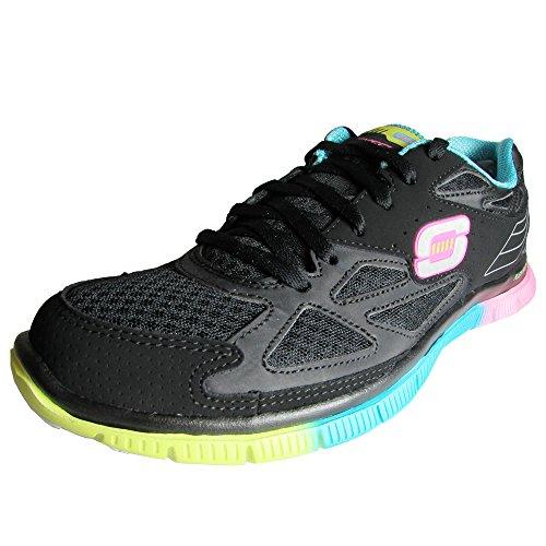 Sonora Leather - Skechers Womens 11881 Flex Appeal Sonora Sunset Sneaker Shoe, Black/Multi, US 10