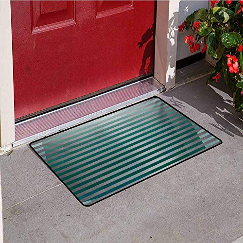 Modern Welcome Door mat Computer Graphic Striped Minimalist Virtual New Media Style Digital Artwork Door mat is odorless and Durable W47.2 x L60 Inch Silver Jade Green