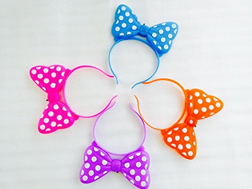 12 PCS Light-Up Bows Minnie Mouse LED Headbands Polka Dot Blinking Flashing Rave