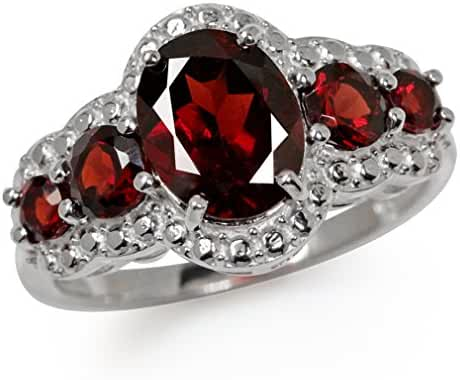 3.09ct. 5-Stone Natural Garnet White Gold Plated 925 Sterling Silver Ring