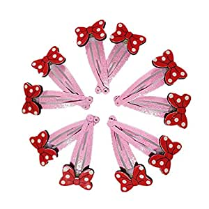 10 PCS Mini Hair Bow Hair Bows with BB Clips for Baby Girls Toddlers Kids in Pairs