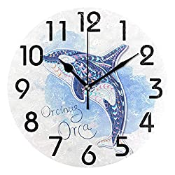 Dozili Stylish Killer Whale in Indian Totem Style Round Wall Clock Arabic Numerals Design Non Ticking Wall Clock Large for Bedrooms,Living Room,Bathroom