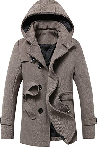 Tweed Belted Belt (S&S Men's Gray Buckle Collar Double Breasted Long Wool Pea Coat Belt)