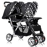 Costzon Double Stroller, Twin Tandem Baby Stroller with Adjustable Backrest, Footrest, 5 Points Safety Belts, Foldable Design for Easy Transportation (Black)