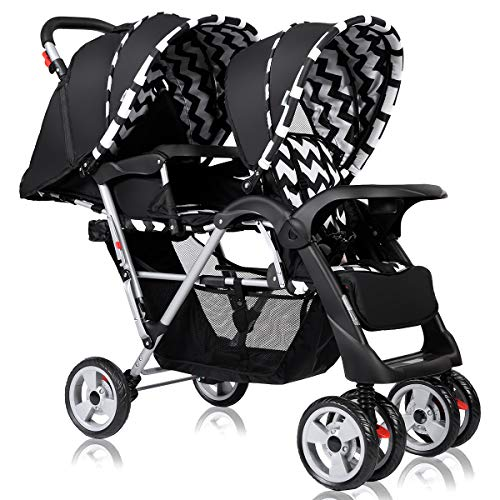 Costzon Double Stroller, Twin Tandem Baby Stroller with Adjustable Backrest, Footrest, 5 Points Safety Belts, Foldable Design for Easy Transportation (Black)