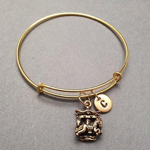 Carousel Bracelet (Carousel bangle, carousel charm bracelet, expandable bangle, charm bangle, personalized bracelet, initial bracelet, monogram)