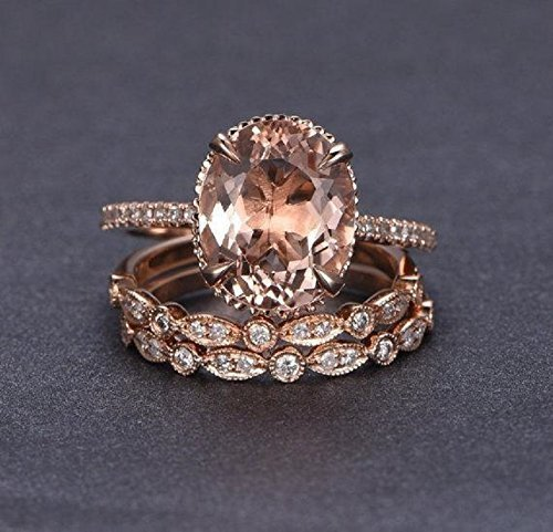 Band Morganite Ring - 2.25 Carat Oval cut Morganite and Diamond Trio Wedding Ring Set On Rose Gold with Engagement Ring and Two Wedding Bands