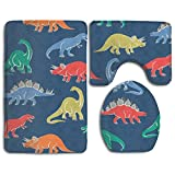 Cartoon Dinosaur 3 Piece Soft Bathroom Rugs Set Dries Quickly Anti Mite Bath Shower Mat U-shaped Lid Toilet Floor