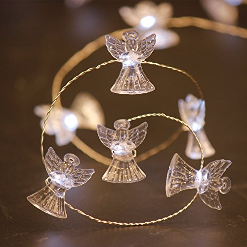 Christmas LED String Lights, Impress Life Angel Cherubim 10 ft Copper Wire 40 LEDs with Remote for Christmas, Thanksgiving, Birthday, Wedding, Covered Outdoor, Indoor Parties & Home Decorations Ideas (String Angel)