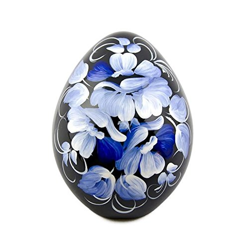 (BestPysanky Blue Flowers Hi-Gloss Wooden Fridge Magnet)
