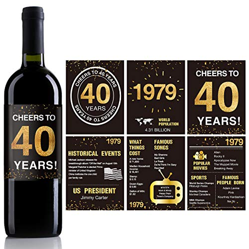 40th Birthday Anniversary Wine Bottle Labels or Stickers Present   1979 Sign   40th Anniversary Decorations   Funny Forty Black Gold Party Decoration Centerpiece Supplies.   Set of 12