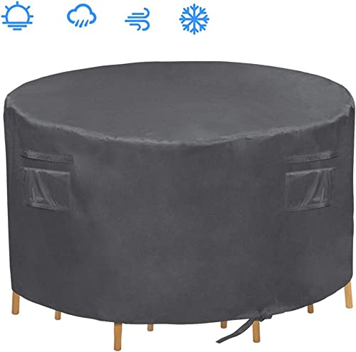 Patio Round Table Cover,Heavy Duty Waterproof Patio Furniture Cover,Suitable for 4 chairs and a table set,60 Diax28 H Grey