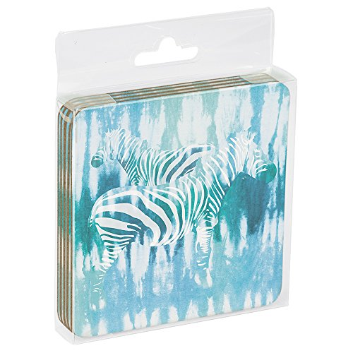 Tree-Free Greetings EC16000 EcoCoaster Set in Acrylic Box Set of 4 Tie Dye Zebra - Tie Dye Zebra