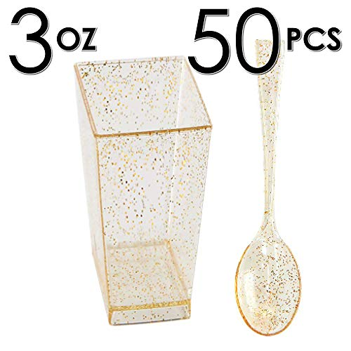 DLux 50 x 3 oz Mini Dessert Cups with Spoons, Square Tall - Glitter Plastic Parfait Appetizer Cup - Small Disposable Reusable Serving Bowl for Tasting Party Desserts Appetizers - with Recipe Ebook]()