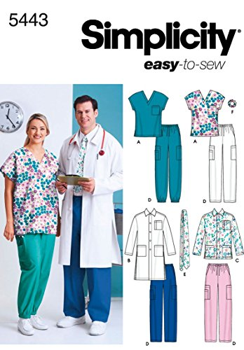 Simplicity Easy To Sew Men and Women's Scrubs and Doctor's Outfit Costume Sewing Pattern, Sizes -