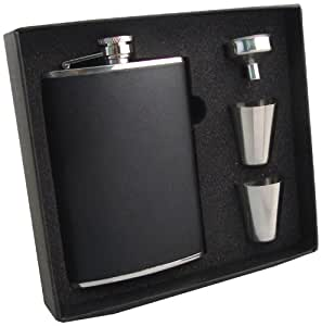 """Visol """"Ano"""" Leather Stainless Steel Hip Flask Gift Set, 8-Ounce, Black"""