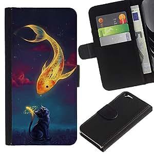 Ihec-Tech / Flip PU Cuero Cover Case para Apple Iphone 6 4.7 - Beautiful Magic Koi Fish & Cat