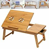 Panzl Portable Foldable Wooden Laptop Lapdesk Notebook E-Table For Macbook, Wooden Stand, Laptop Holder, Base Laptop, Notebook Holder, Bed Table, Wood Table For Laptop