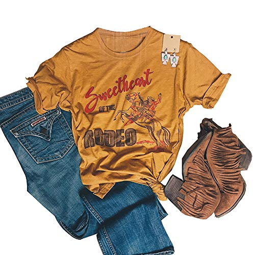 (Sweetheart of The Rodeo T-Shirt Women Western Cowboy Cowgirl Vintage Funny Letter Cute Graphic Tops Tee Size M)
