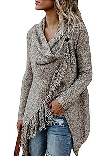 Sweetnight Women's Casual Tassel Cardigan Cowl Neck Knited Tassels Slash Sweaters Asymmetric Hem Wrap Poncho Coat Outwear (Tag XL=US 10-12, Khaki14) (Cardigan Wrap)