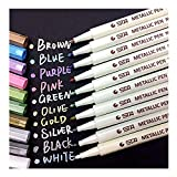 Vakki MP001 Metallic Marker Pens, Set of 10 Assorted Colors for Photo Album Drawing/DIY Birthday Greeting Gift DIY Card Making Rock Painting Glass Plastic Pottery Wood Surface